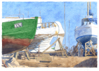 Fiskebåd, fisker, fishing boat, fishing, harbour, Copenhagen, watercolour, Bådebyggeri, boatbuilder, skibsværft, shipyard