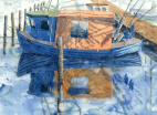 Fiskebåd, fisker, fishing boat, fishing, harbour, Copenhagen, watercolour