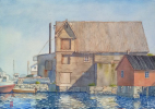 Fiskeolie, fish oil, factory, hvalolie, whaleoil, akvarel, watercolour