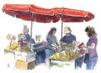 Market stalls, akvarel, watercolours